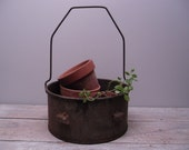rustic metal basket / metal sieve with handle / succulent planter / industrial decor