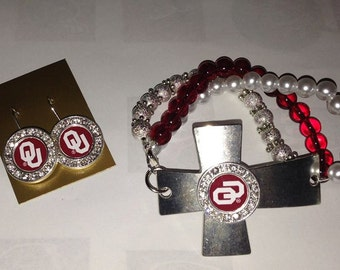 Oklahoma Sooners Necklace, Bracelet or Earrings