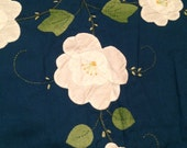 Large Vintage Table Cloth Navy Blue with White Flower Appliques and Stitching Details