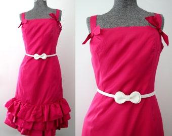 Cranberry Cocktail Valentine Dress -Vintage 60s Red Pink Satin Party Magenta Raspberry Ruby Wine Prom Formal Designer Flamenco Christmas S M