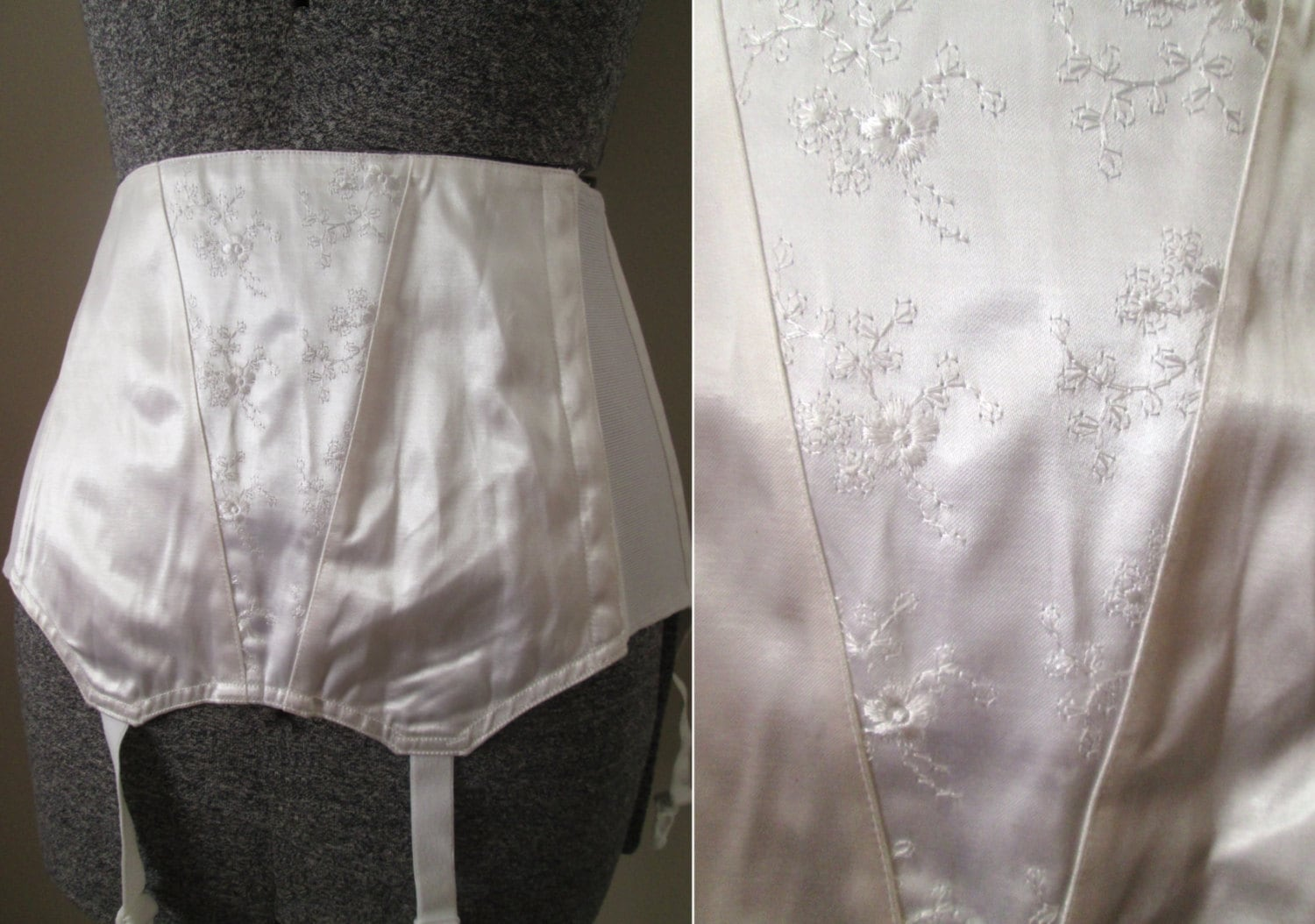 Vintage 50s pinup corset garter girdle lingerie by for Plus size girdle for wedding dress