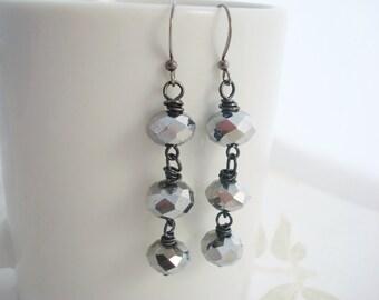Metallic Silver Earrings, Silver Gunmetal Earrings, Metallic Dangle Earrings, Silver Jewelry, Silver Dangle Earrings