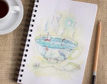 Green Tea and The Sea - ink and watercolor illustration - ocean, mermaid, cup of tea, green tea, sailboat, original whimsical illustration