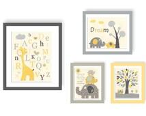 Baby room decor Nursery art for baby boy  Safari ABC Yellow Gray Baby elephant Giraffe Owl Before you were born Nursery tree Owl theme room