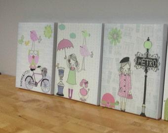 Nursery art, Baby room decor, Baby girl nursery wall art, Paris Metro. set of 3 11x14 shabby chic, vintage style nursery, PINK, gray, GREEN