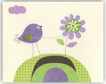 Baby girl Room Decor Nursery Art birds..Violet Green Flower, baby girl nursery, purple and green baby room, violet, lavender and lime