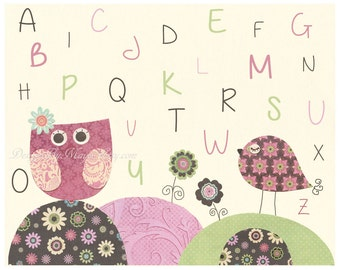 Nursery wall print, Baby girl room decor, love bird, abc, baby owl, cocalo taffy, green, pink brown, ivory, light pink, pale pink and sage