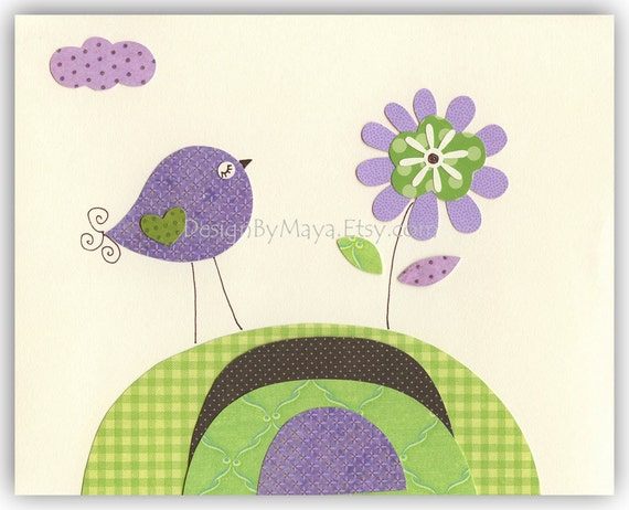 Baby Girl Room Decor Nursery Art Birds Violet By DesignByMaya