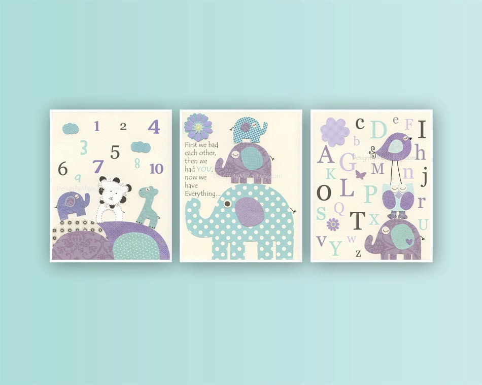 Baby girl room decor nursery art print set of 3 prints match for Room decor etsy