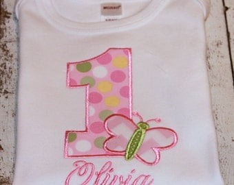 Girl's Butterfly Birthday Shirt, Available in Ages 1-9, Choose your color scheme
