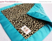 30% OFF Minky Baby Security Blanket Lovey - Tan Cheetah Print Minky with Turquoise Minky & Satin Trim -- READY TO Ship