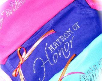Bridesmaid Tank Top Shirt: Rhinestone , Bride, Light pink, black, white, purple, red, royal blue, hot pink, brown, aqua blue, pool, bride,
