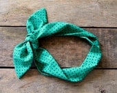 emerald green and navy polka dot headscarf /  tie up headband / adjustable / summer / fall / knotted headband - SassyStitchesbyLori