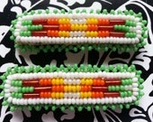 Vintage Hand Made and Beaded Native American Style Hair Barrettes Ladies 1980s Seed Beads Rectangular White Green Yellow Orange Red Leather