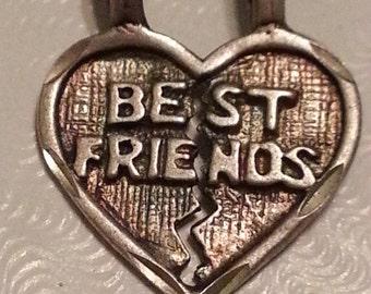 Vintage Sterling Silver Best Friends Broken Heart Pendant Charm 925 1970s Never Separated
