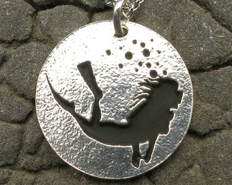Female Scuba Diver Necklace Pendant, hand crafted recycled sterling silver, woman diving, handmade