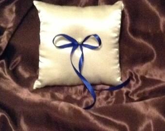 ring bearer pillow custom made ivory or white satin with blue ribbon