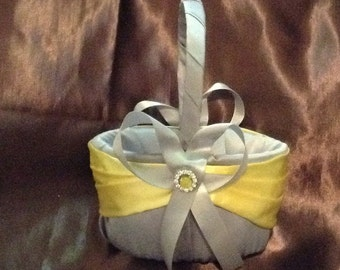 flower girl basket wedding yellow and gray custom made