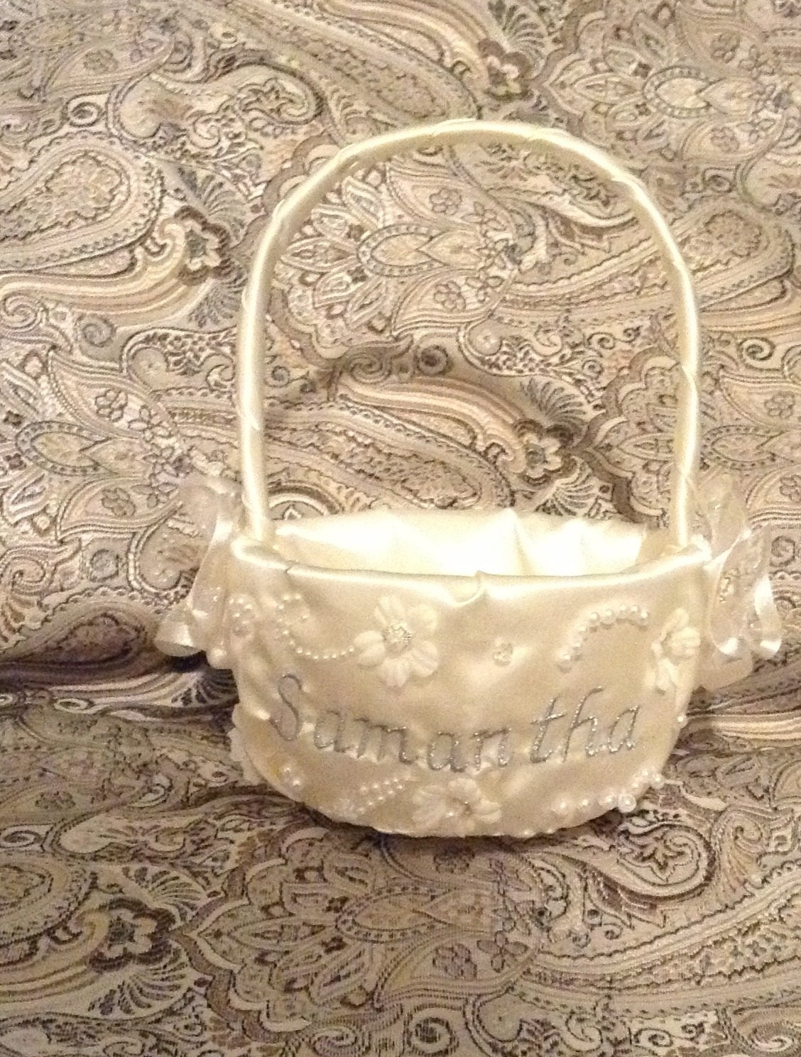 Flower girl basket ivory or white with name or initials