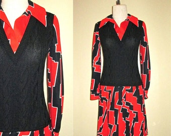 Vintage 1960's mod dress BLACK & RED geometric print - M