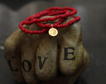 Matte Red Seed Beads ~ Stretch Bracelets ~ Gold Lotus Charm ~ Meaningful Bracelet ~ Red and Gold ~ Gift for her ~ Boho Chic Bracelet