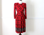 Vintage 1970's Red Plaid Dress
