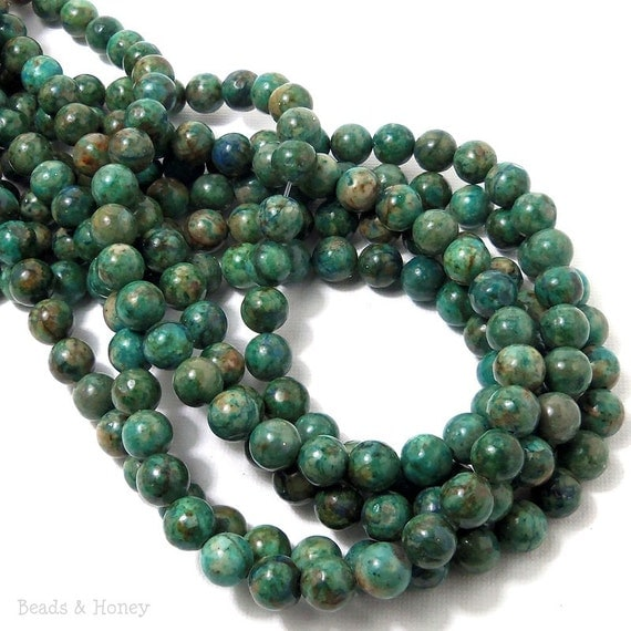 Chrysocolla, Blue-Green, Gemstone Beads, Round, Smooth, 8mm, Full Strand, 48-50pcs - ID 768-4