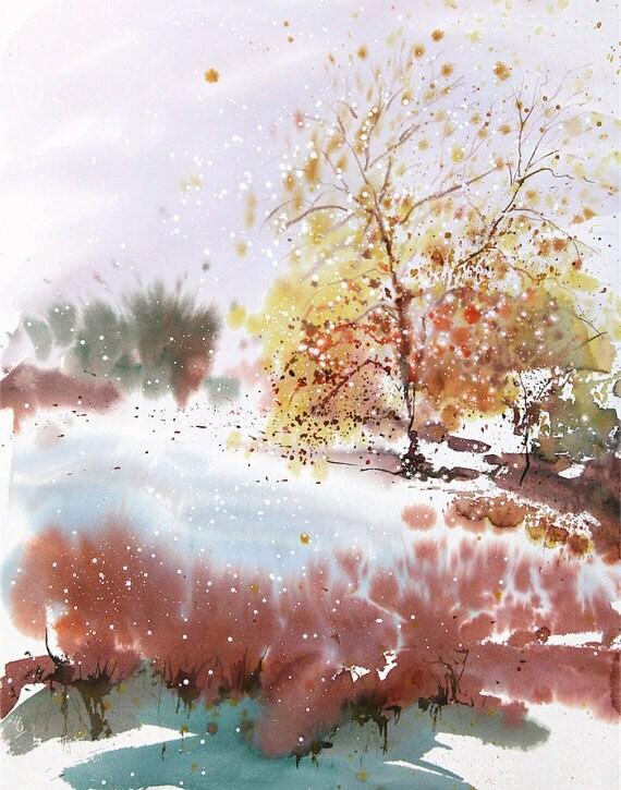 Nueva Inglaterra Landcape No.219, edición limitada de 50 impresiones artísticas de giclee de Acuarela original