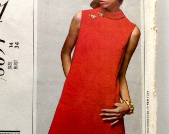 60s New York Designers Jaques Tiffeau Shift Bias Collar Dress Size 14 Bust 34