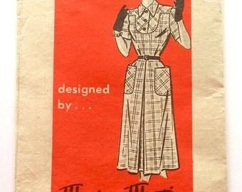 50s Marian Martin R 9013 Flared Day Dress with Yoke Size 18 Bust 36