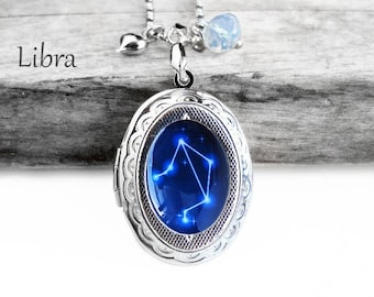 "Get 15% OFF - Handmade Resin ""Libra"" Constellation Sign Silver Oval Locket Pendant Necklace -  Happy Halloween SALE 2016"