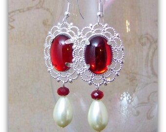 Medieval Earrings - Renaissance Earrings - Medieval Jewelry - Renaissance Jewelry, Tudor Jewelry, Tudor Earrings
