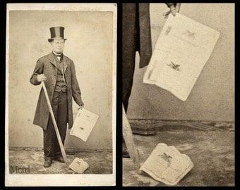 Rare Civil War Era CDV Photo Man w Tamping Iron & Railroad Stocks / Market Crash