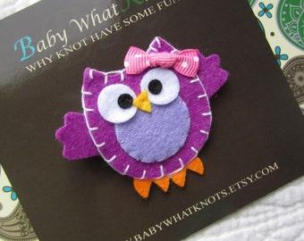 Baby Hair Clip, Purple  Owl Hair Clip, Baby Hair Clippies, Girl Barrette, hcowl01