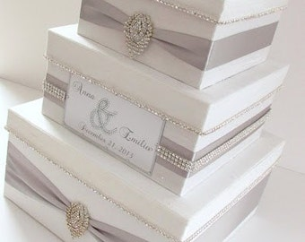 Wedding Card Box, Bling Card Box, Money Holder Box with Rhinestone Trim