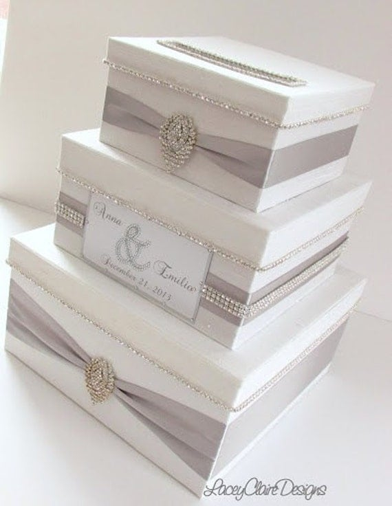 Wedding Card Box, Bling Card Box, Money Holder Box with Rhinestone ...