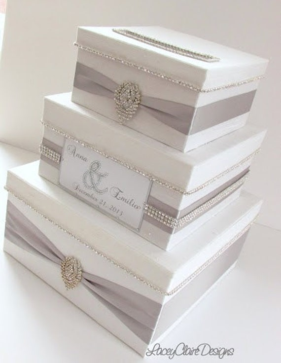 Wedding Gift Card Containers : Wedding Card Box, Bling Card Box, Money Holder Box with Rhinestone ...