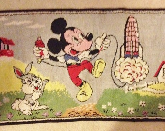 Vintage Disney Rug Mickey Mouse & Thumper Launch a Rocket Ship Disneyland Rugs