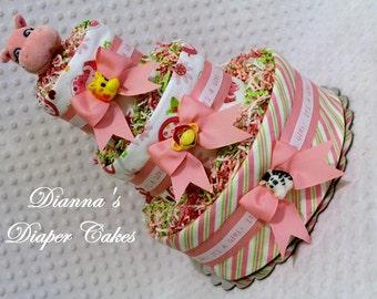 Baby Diaper Cake Girls Pink Zoo Animals Shower Gift or Centerpiece