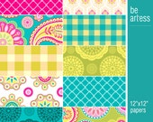 Paisley Digital Paper Collection for Personal & Commercial Usage - 10 digital papers / 12x12 inches - P0029