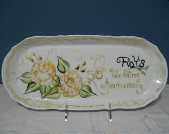 Personalized China Wedding anniversary Platter/ Plate Hand Painted Memorabilia Made for you