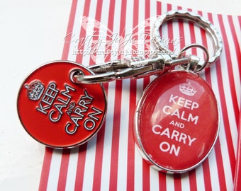 Keep Calm & Carry On Glass Tile Key Ring With Trolley/Locker Coin
