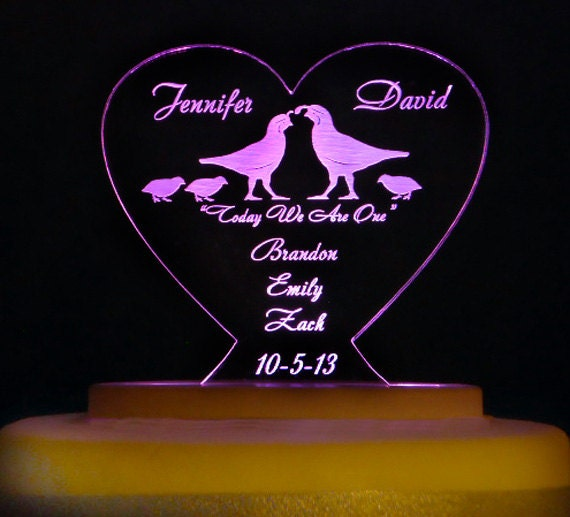 BLENDED FAMILY Wedding Cake Topper Engraved Amp Personalized
