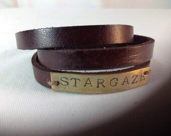 """Brass Stamped Bracelet, Leather Wrapped ,  """"Stargaze"""""""