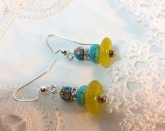 Cloisonné Turquoise And Yellow Earrings
