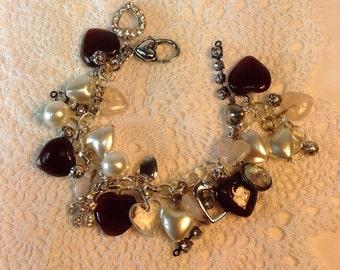 Heart Charm Bracelet. Red Hearts