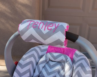 Car seat handle cover, Padded Handle Cover, infant car seat handle cover,  Personalized Chevron padded handle cover