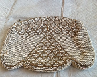 Vintage Beaded Evening Bag White and Silver. Satin Lining Flapper Bag Czech