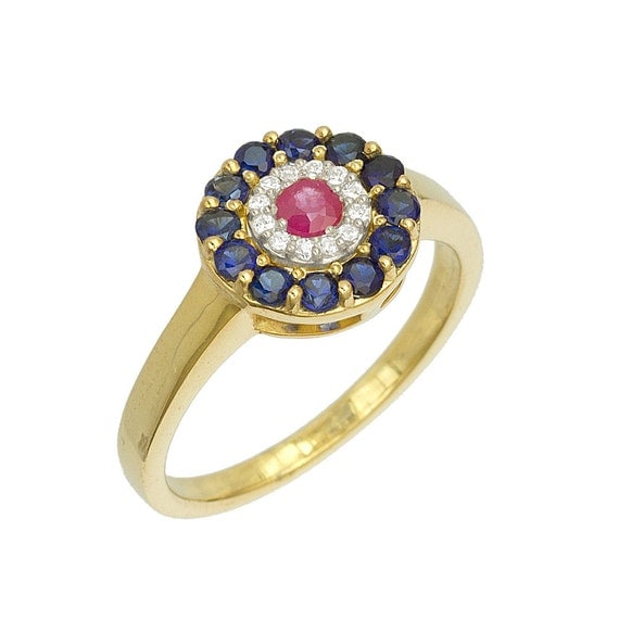 Art Deco Sapphires Diamonds Ruby Ring in 18k Yellow Gold