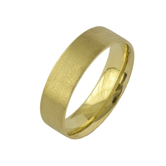 Artisan Matte Wide Comfort Fit Wedding Band In Yellow Gold